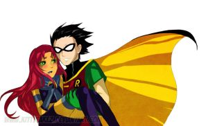 TT_Robin and Starfire by kittycakez