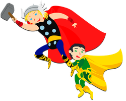 Katamari Thor and Loki by nupao
