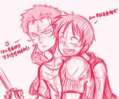 ZoroXLuffy YAOI Fanart rough by arisa-chibara