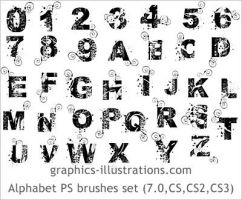 Alphabet and numbers PS brush by bsilvia