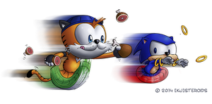 Art Trade: Tanber and Sonic by kjsteroids