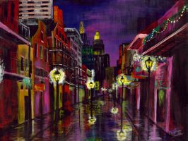 New Orleans,  bourbon street, TWILIGHT STREET by ArtofGretchenSmith