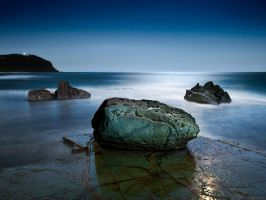 Forrester Rocks at Night by brentbat