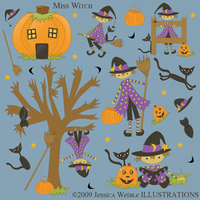 Miss Witch Halloween Set by jdDoodles