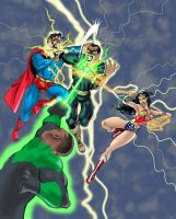 Black Adam vs the JLA by DragonArcher