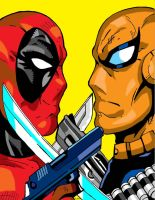 Deadpool vs Deathstroke color by kristiano21