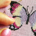 purple butterfly, two by stitched-by-me