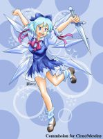 COM : Cirno holding Ice Sword by whiteguardian