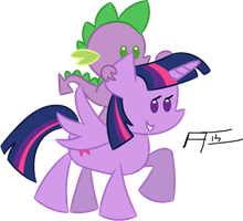 Twilight and Spike by FrankRT