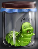 caterpillar inside a jar.. by aerlixir