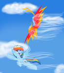 Commission: Rainbow Dash and Philomena in Flight by Pikkinon