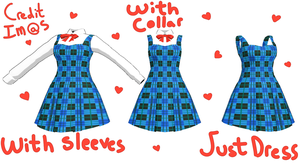 [MMD] Blue Plaid Dress DL by Tiny-face
