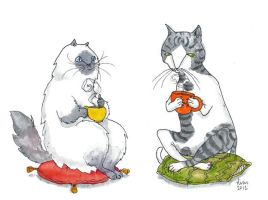 Tea Cats by liselotte-eriksson