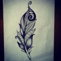 Feather Drawing by KarenNicole97