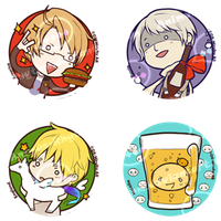 Hetalia: Pin set 1 by OXMiruku