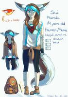 My fursona Sui reference sheet /human/ by Snowy-Sui