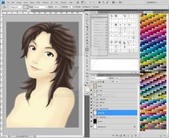 korean girl painting WIP 2 by karlonne