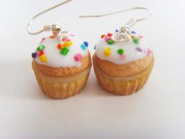 Vanilla Frosted Cupcake Earrings by tyney123