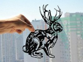 Rabbit With Deer Antler Handmade Original Papercut by DreamPapercut