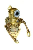 Steampunk Minion robot with blue eye and mustache by CatherinetteRings