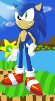 Sonic at the Green Hills by SilverTails841