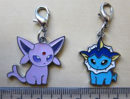Pokedoll Style Charms: Vaporeon + Espeon by winter-wish