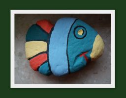 fish painted on the stone by MrsEfi