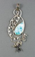 Silver pendant with larimar by nataliakhon