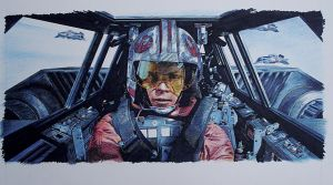 Luke in Snowspeeder by monkipigcat