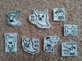 Hand-drawn OFF Stickers (and Ness) by SkyHighFae
