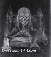Cryptkeeper done in charcoal for sale by johnstewartart