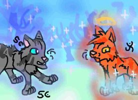 Jayfeather Visits Flametail by MiddyLPS