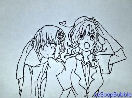APH: Fem!Japan and Fem!Italy by LeSoapBubble