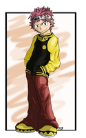 Natsu in Soul's clothes XD by Blackwolfpaw