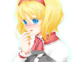 Alice Margatroid with a new doll's hat by Korewa13th