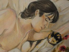 "Illustration ""boy with cat"" part 1 by Angela-Chiappini"
