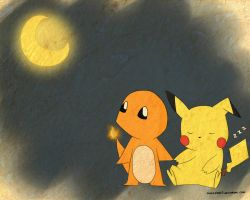 Charmander and Pikachu by MuSiCxLoVe13