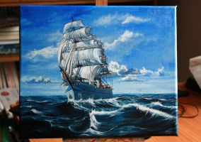 Water waves ships and sea by Mishice