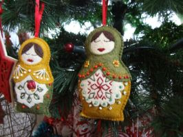 Embroidered Felt Russian Doles Xmas Decorations 2 by KymeraKirsty