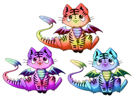 Dragon cat adoptables by michellescribbles