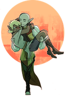 COMMISSION: Aria and Solas by spacerocketbunny