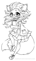 Fox Girl Chibi Lineart by YamPuff