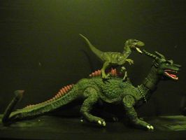 Random beast battle #4: Velociraptor vs. Dragon by RMC1618