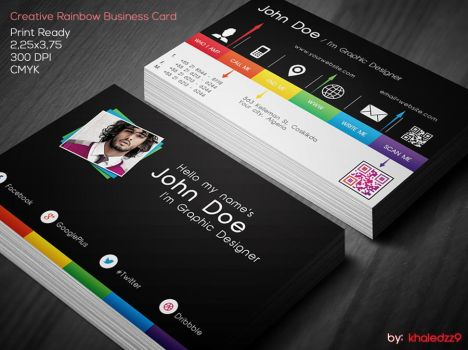 Creative Rainbow Business Card by khaledzz9