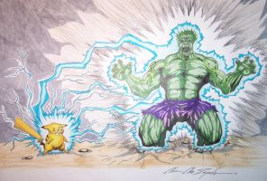Hulk vs Pikachu by Zepeda