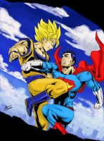 Goku versus Superman Colored by stryfers