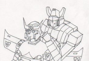 Prowl and Jazz - Line Art by Pharaoh-Yami