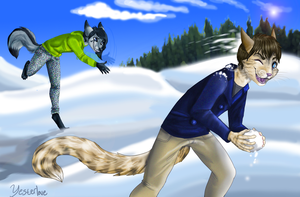 Suddenly, snowball fight by Yesterlove