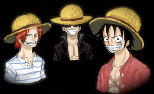 One piece, Shanks Roger Luffy by heivais