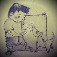 Man and Dog by tidiburr